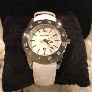 Pandora diamond and leather watch